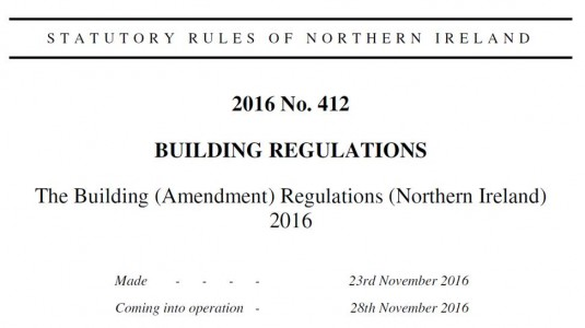 Amendments to building regulations building control ni for Construction rules and regulations